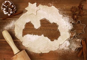 Cookie dough cut as the shape of Latvia (series)