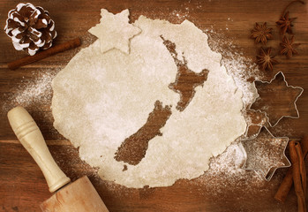 Cookie dough cut as the shape of New Zealand (series)