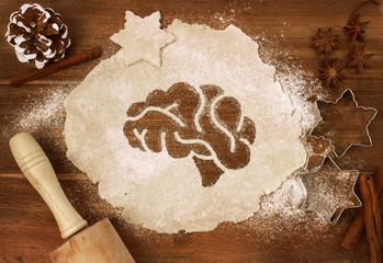 Cookie dough cut as the shape of a brain (series)