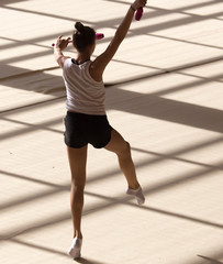 girl on a professional gymnast in the hall