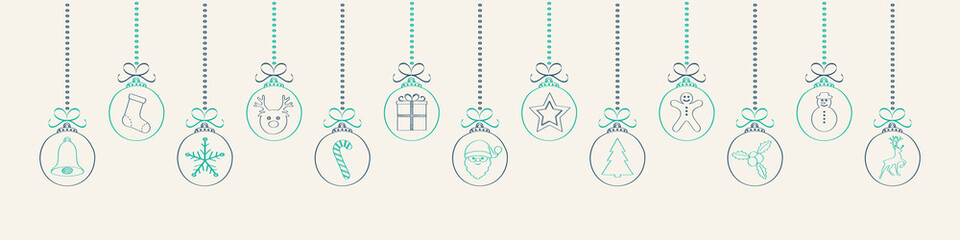 Hand drawn Christmas decoration with hanging baubles. Vector.