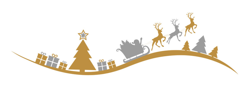 Christmas banner with Santa Claus and winter landscape. Vector.