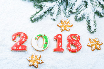 Christmas background with gingerbread cookie 2018, snow and branches of a Christmas tree. Free space