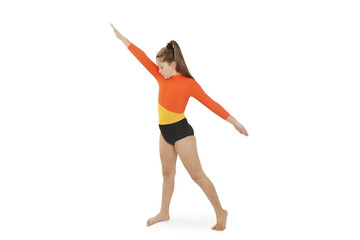 Little gymnast on a white background. Sporting exercise, stretch, flexibility, aerobic