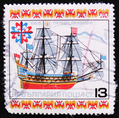 MOSCOW, RUSSIA - APRIL 2, 2017: A post stamp printed in Bulgaria shows Galley La Corone, circa 1977