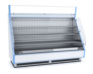 Trade open refrigerated display case with shelves. 3d image isolated on white.