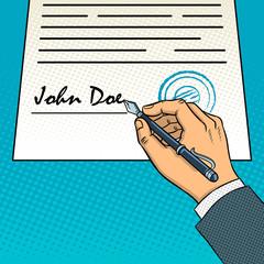 Fotobehang Pop Art Hand sign document pop art vector illustration