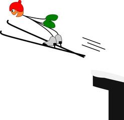 Strichmännchen beim Skispringen