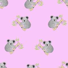 Seamless pattern with cute koala bears on pink. Vector kids background.