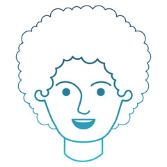 male face with curly hair in degraded blue silhouette vector illustration
