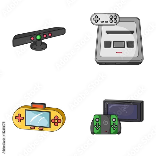 Game And Tv Set Top Box Cartoon Icons In Set Collection For Design