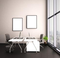 Helles Büro mit großer Fensterwand