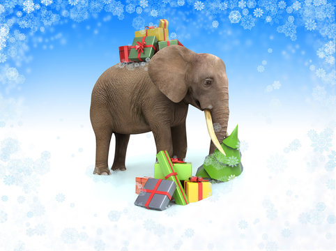 Elephant with gift boxes. 3d Christmas illustration