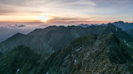 Wall Mural - Time lapse - Panorama of mountain landscape in Tatras at sunrise
