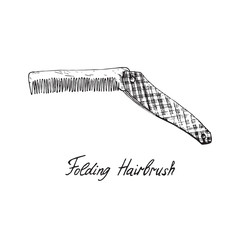 Folding hairbrush, hand drawn doodle sketch with inscription, isolated vector illustration