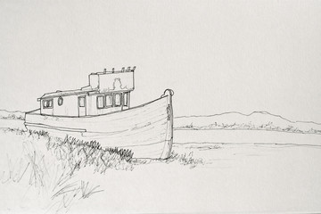 ink Line Drawing of old abandoned boat by creek.