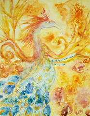 Phoenix in fire and flame. The dabbing technique near the edges gives a soft focus effect due to the altered surface roughness of the paper.