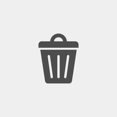 Trashcan flat vector icon