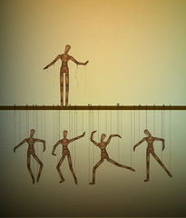 be free concept, one marionette without the thread and many marionettes hanging,