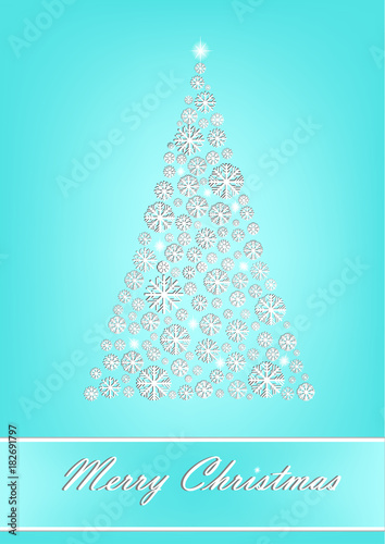 Beautiful White Snowflake Christmas Tree On The Turquoise Background Vertical Vector Illustration