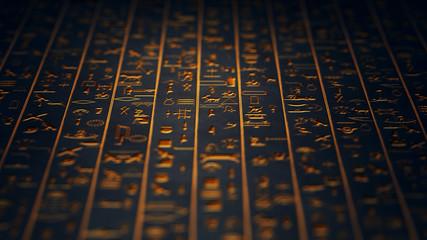 Golden Egyptian Hieroglyphs Ancient Wall