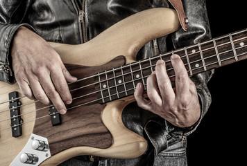 rock bassist playing