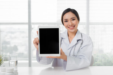 Doctor woman tablet computer medical with stethoscope