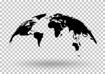 Poster Carte du monde Black World Map Globe Isolated on background - stock vector.