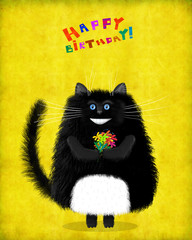 Birthday Card Blue Eyed Black Cat With Flowers