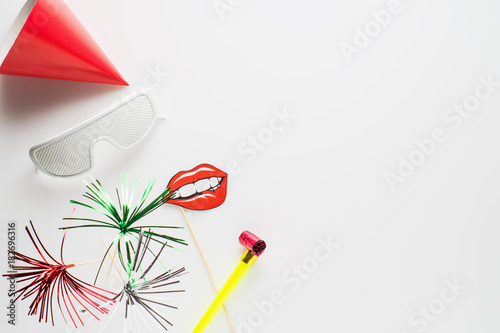 party decoration on white background background for carnival birthday new year or any