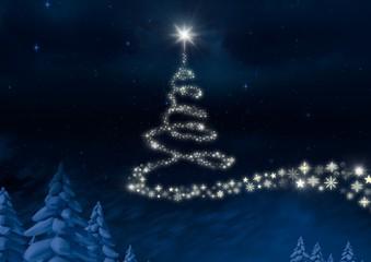 Snowflake Christmas tree pattern shape glowing in Winter night