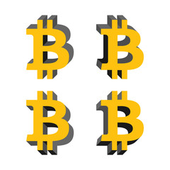Bitcoin volume logo, flat icons with different sides. Network money symbol