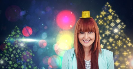 Woman wearing party hat and Snowflake New Year Party lights