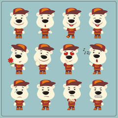 Set of polar bear little boy in cartoon style. Collection of isolated polar bear in clothes and cap.