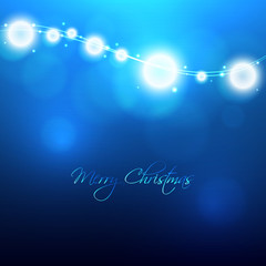 Merry Christmas abstract hanging neon lights background