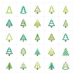 Mini Icon set - Christmas tree color icon vector illustration