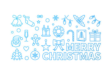Merry Christmas blue vector linear horizontal banner
