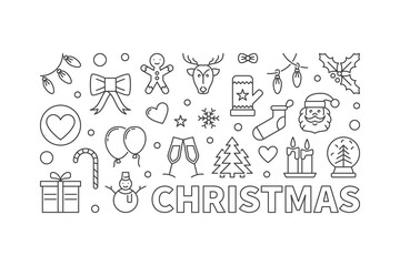 Vector Christmas horizontal line banner on white background