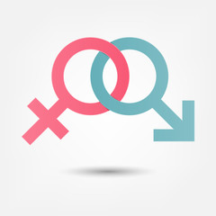 Gender symbol pink and blue icon.  paper art and craft style.
