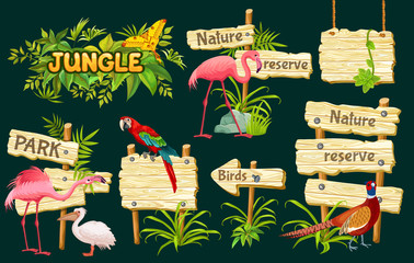 Wooden signboards, exotic birds and green leaves for covers, banners, applications, advertising. Vector illustration with space for text.