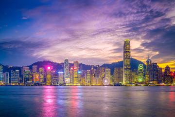 night view of victoria harbor, hong kong