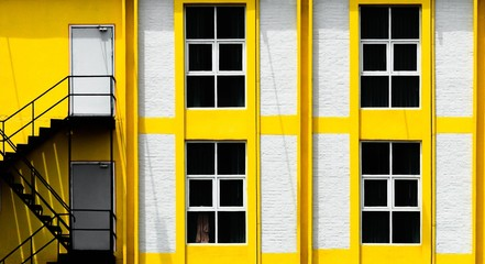 Windows of building with yellow aluminum framework