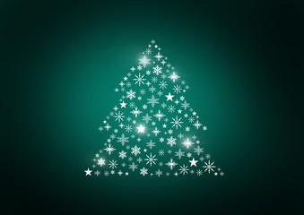 Snowflake Christmas tree pattern shape glowing green