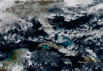A satellite photo of Caribbean Sea. Elements of this image furnished by NASA