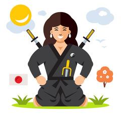 Woman Ninja. Vector Flat style colorful Cartoon illustration.
