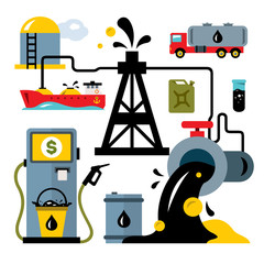 Vector Oil Industry. Delivery Vehicles. Flat style colorful Cartoon illustration.