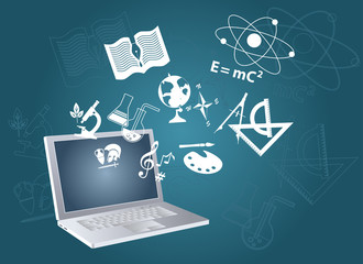 Open laptop computer with symbols of fields of study flying out, EPS 8 vector illustration, no transparencies