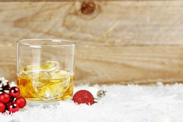whiskey on snow