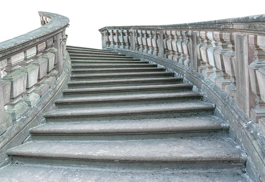 Vintage stone staircase isolated on white background