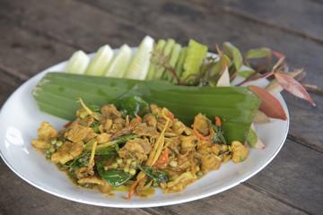 Fried spicy boar Thai food, stir fried rice with boar.